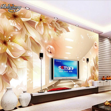 Large flower space extension TV wallpaper living room bedroom decorative art painting