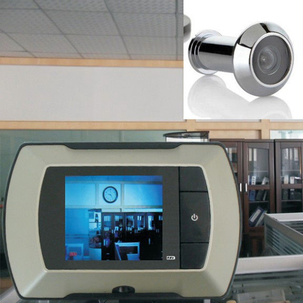 Door Peephole Camera Wireless Visual-Monitor White 100-Degree-View Angle High-Resolution