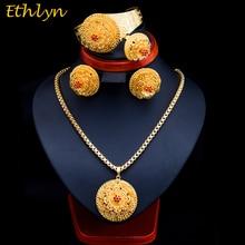 Ethlyn 2017 Latest Gold Color Ethiopian Women Jewelry Sets  African Bridal Romantic Zircon Wedding Jewelry Sets S071