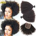 Brazilian Virgin Hair With Closure 4 Bundles With Closure Kinky Curly Virgin Hair With Closure Cheap Kinky Curly Virgin Hair