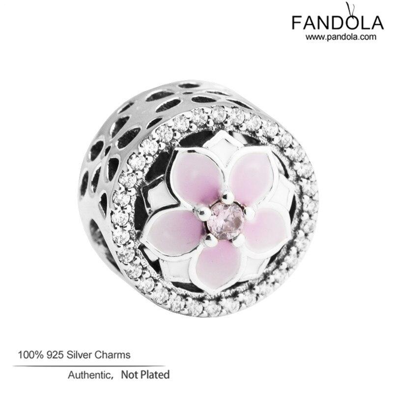 100% 925 Sterling Silber Magnolia Blüte Perlen Mit Blass Cerise Emaille & Rosa Cz Passt Original Armband Charme Für Schmuck, Der