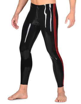 Latex Tight Leggings Latex Bottoms With Striped Color Thru Crotch Zip Latex Rubber Long Pants