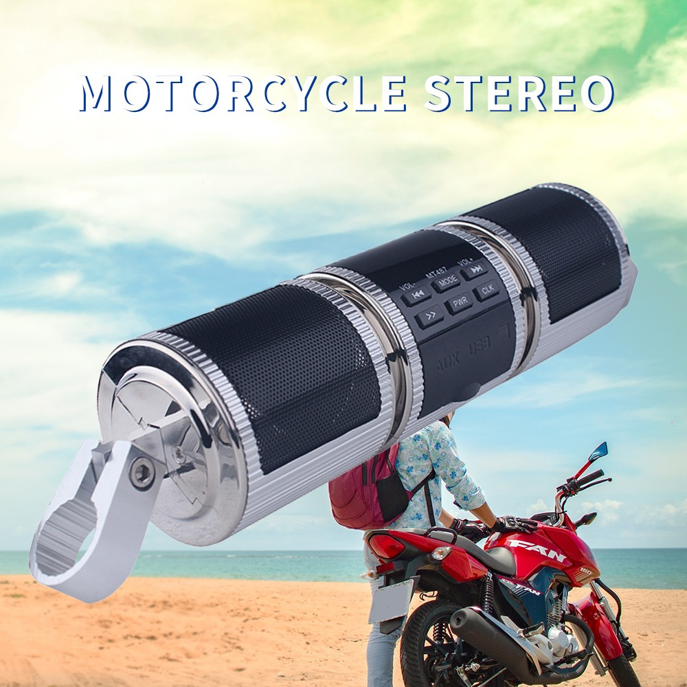 """Bluetooth Motorcycle Audio For 7//8""""  1-1//4""""  System Stereo Speakers MP3 player"""