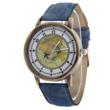 Trend Canvas Strap Analog Watch Males's Informal Quartz Wristwatches Ladies's Easy Trend Watch World Map And a Airplane Printed