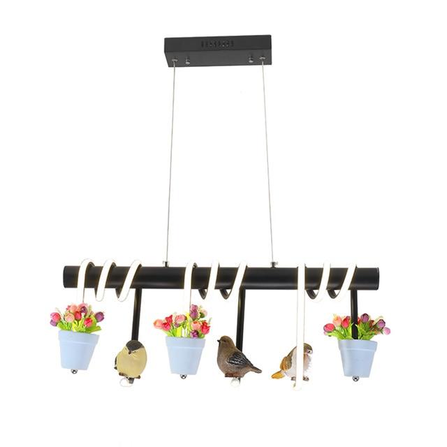 KINLAMS Modern Create Birds Chandeliers Birds Flowers Suspend Lamp Iron Tube Creative Garden Lights For Dining Room Homestay