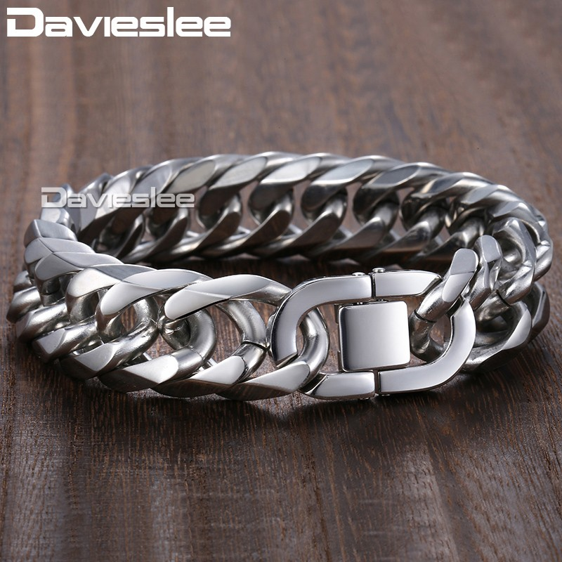 Davieslee 18/22mm Heavy Men's Bracelet Curb Cuban Link Silver Color 316L Stainless Steel Wristband Male Jewelry DLHB287