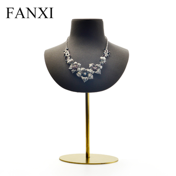 FANXI New Microfiber Leather Necklace Display Bust Stand Gray Coffee Pendant Holder with Metal Shelf Mannequin for shop Counter oirlv white necklace display stand bust mannequin model necklace pendant bust holder with metal rack