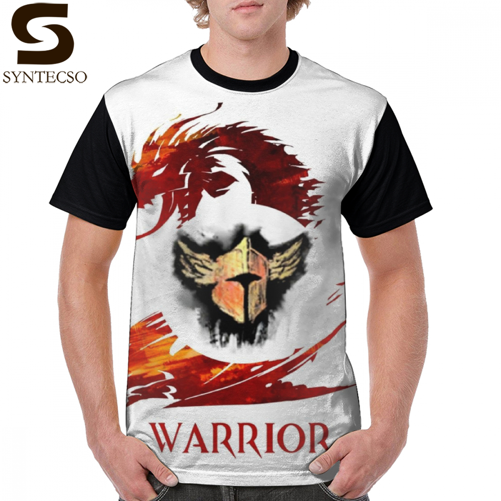 Guild Wars 2 T Shirt Guild Wars 2 Warrior T-Shirt Fun Basic Graphic Tee Shirt Printed Man 100 Polyester Oversized Tshirt