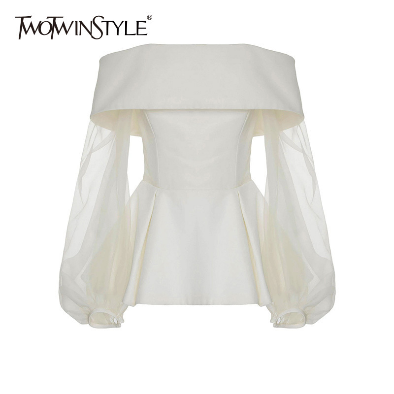 TWOTWINSTYLE Off Shoulder T-shirt Top For Women Tulle Patchwork Slash Neck High Waist Draped Pullover T Shirts 2018 Fashion New