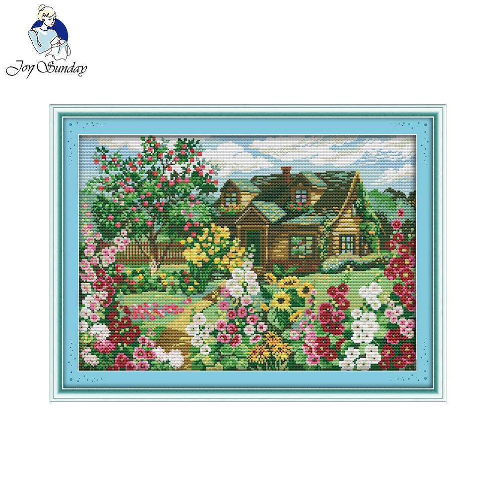 Joy Sunday Country cottage decor painting counted printed on canvas 11CT14CT Chinese Cross Stitch kits embroidery needlework Set