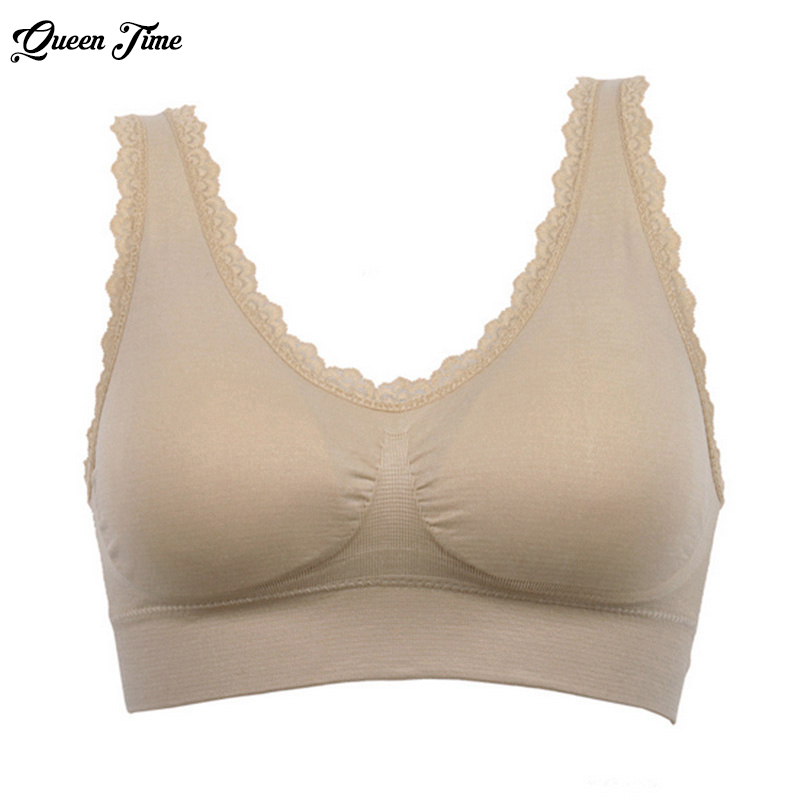 Solid Color Breathable Women Seamless Fitness Lace Bra Tops Underwear Ladies Push up Bras Plus Size 2017