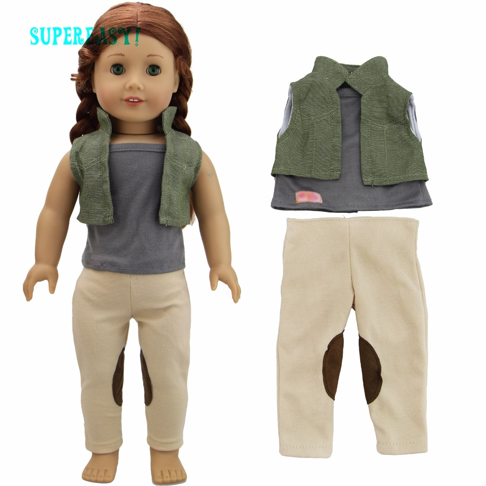 Handmade Casual Wear Outfit Jacket Coat Gray Vest Pants Khaki Trousers Clothes For American Girl Doll 18  Accessories Toys Gift handmade casual wear outfit jacket coat gray vest pants khaki trousers clothes for american girl doll 18 accessories toys gift
