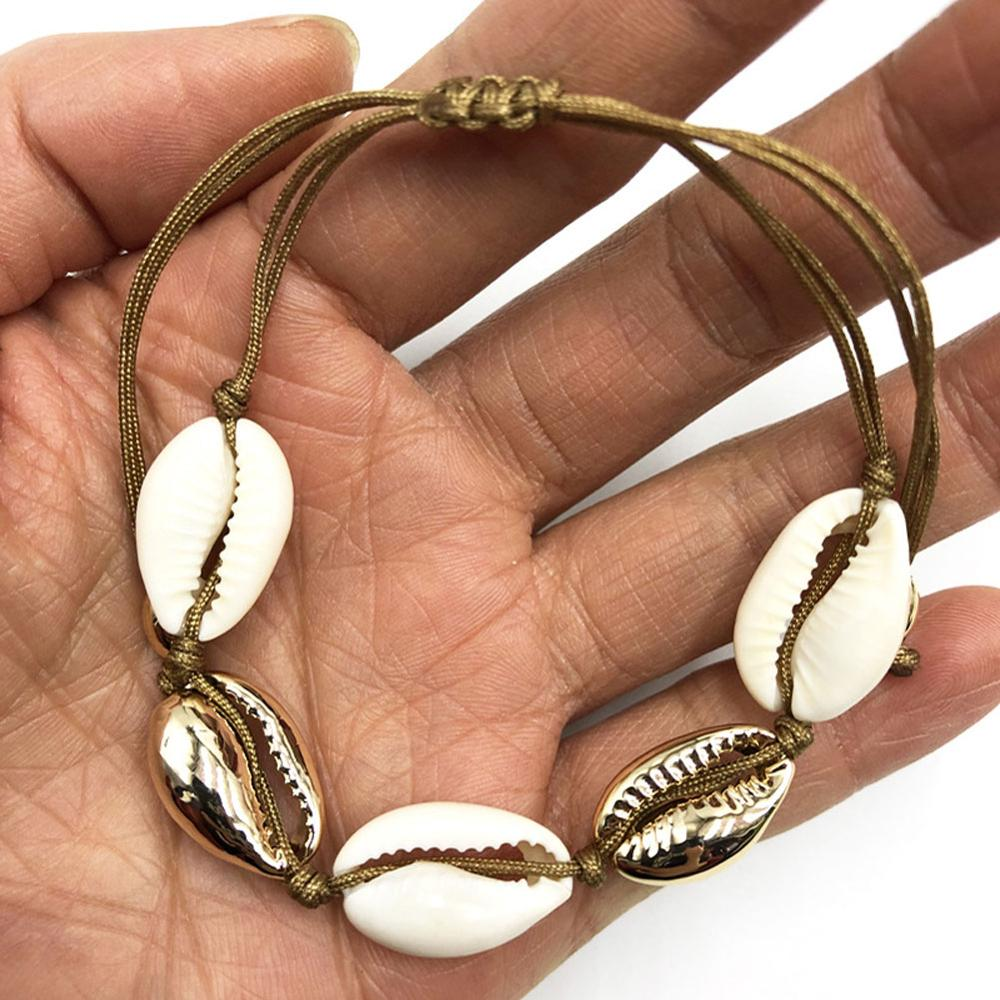 Fashion Women Simple Natural Cowrie Sea Shell Bracelet Adjustable Handmade Woven Bracelet Boho Jewelry