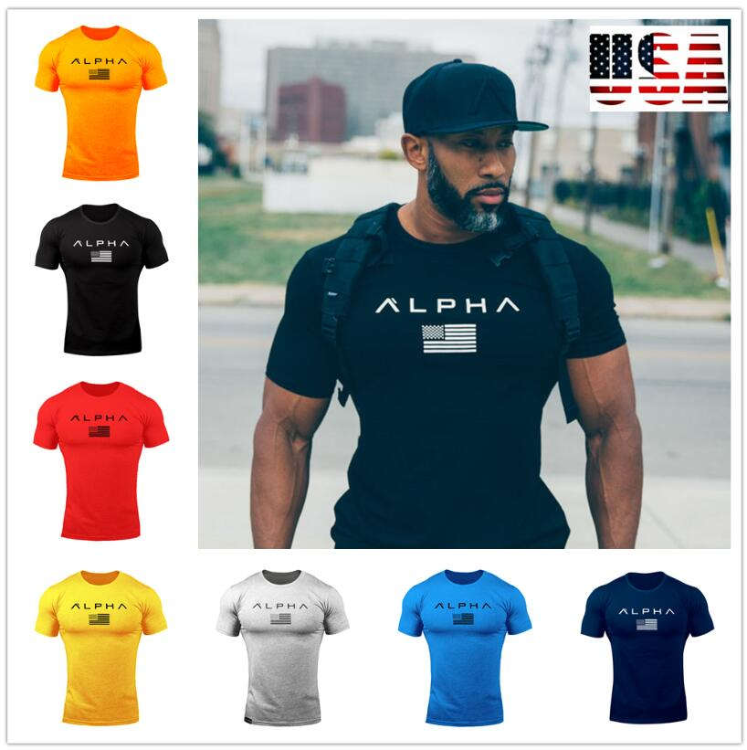 2018 Summer Style Mens t shirt Crossfit Fashion Short Sleeve Gyms Fitness Bodybuilding T-shirt Men Workout Slim Cotton Tee Tops