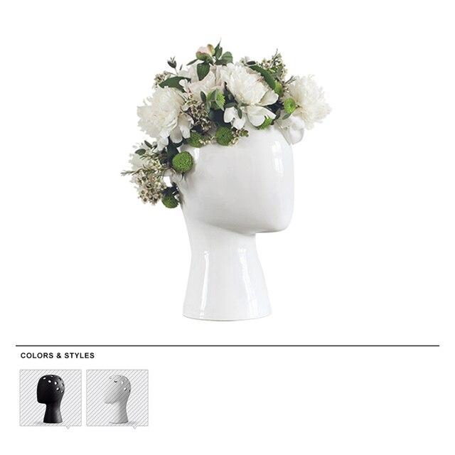 The wig vase human head white black decorative bastract ceramic vase the wig vase human head white black decorative bastract ceramic vase without flower home model room mightylinksfo