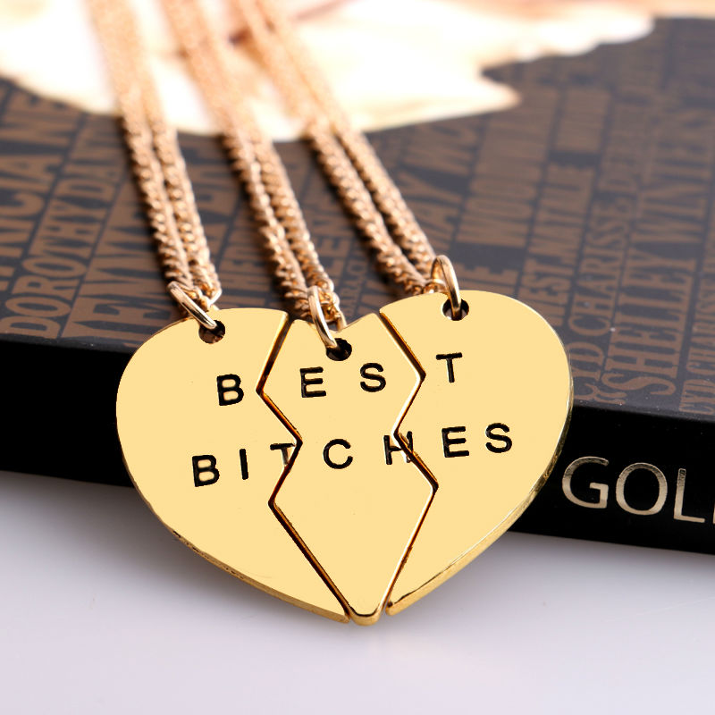 2/3 BFF Broken Heart Necklace Gold Silver Plated Best Bitches Golden
