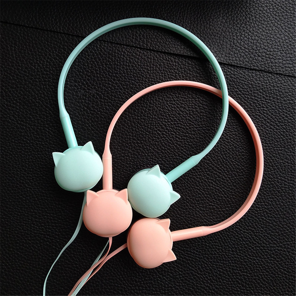 Cute Face Cat Headphones Over-Ear Music Stereo Headphone With Microphone Headset for mobile phone ipod MP3 Child Students Gifts