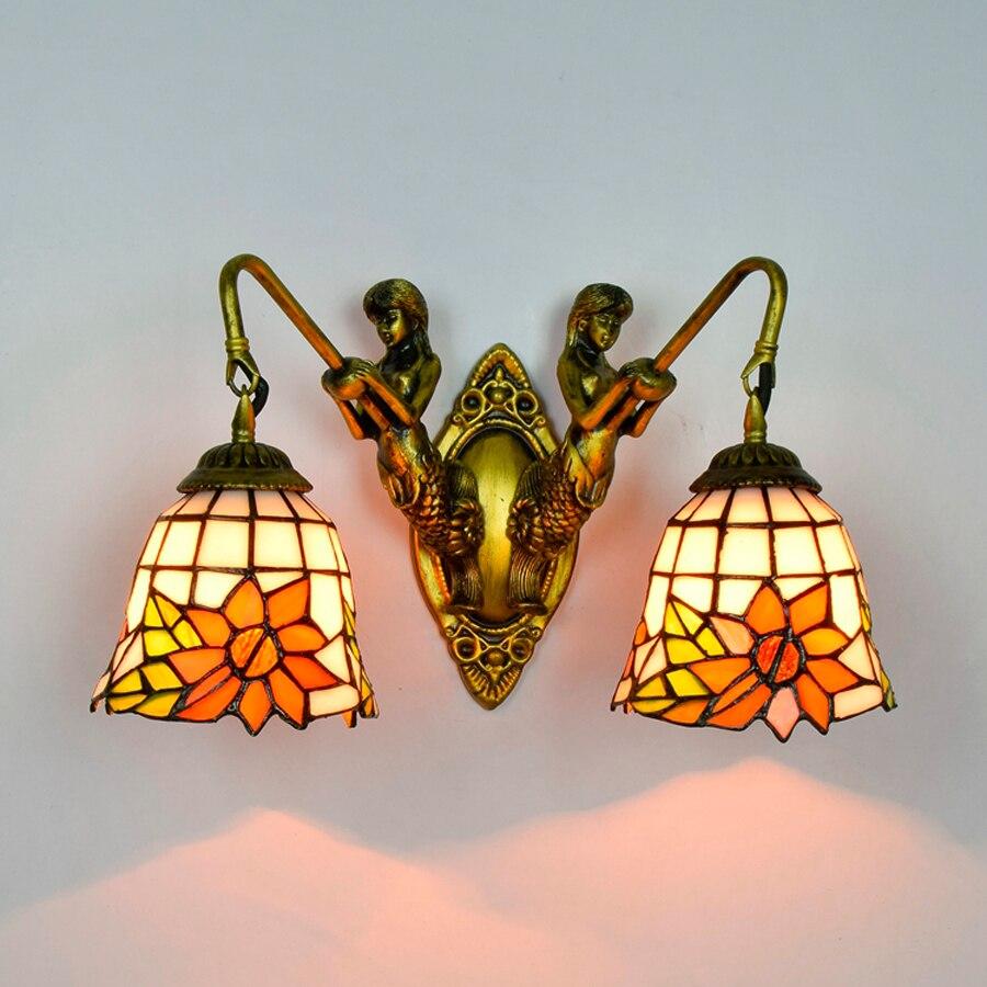 цены  American Pastoral Tiffany Wall Light Creative Individuality Bedroom Wall Lamp Bar Living Room Sunflower Lights