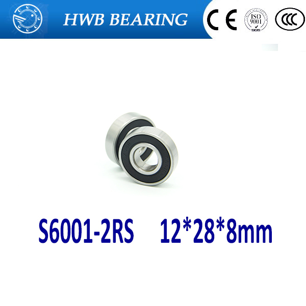 Free shipping 1PCS 6001RS S6001-2RS 12*28*8 12x28x8mm stainless steel hybrid ceramic ball bearing Si3N4 bike hub part S6001 2RS 6008 2rs size40x68x15 stainless steel ceramic ball hybrid bike bearing s6008 2rs