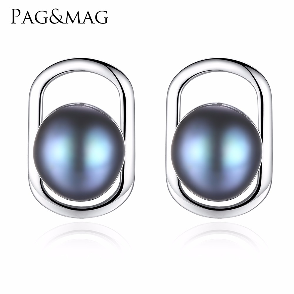 PAG&MAG Brand Simple&Elegant 925 sterling silver stud earrings with Natural freshwater pearl 2 colors Beautiful birthday GiftPAG&MAG Brand Simple&Elegant 925 sterling silver stud earrings with Natural freshwater pearl 2 colors Beautiful birthday Gift
