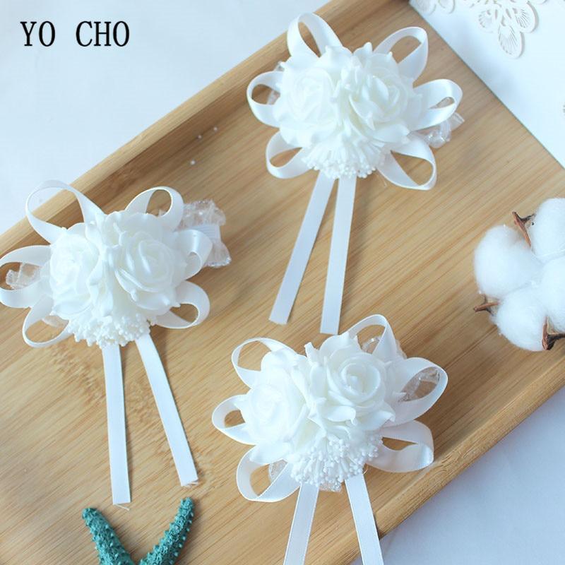 Wedding flower rose white Wrist Corsage Bracelet Boutonniere (12)