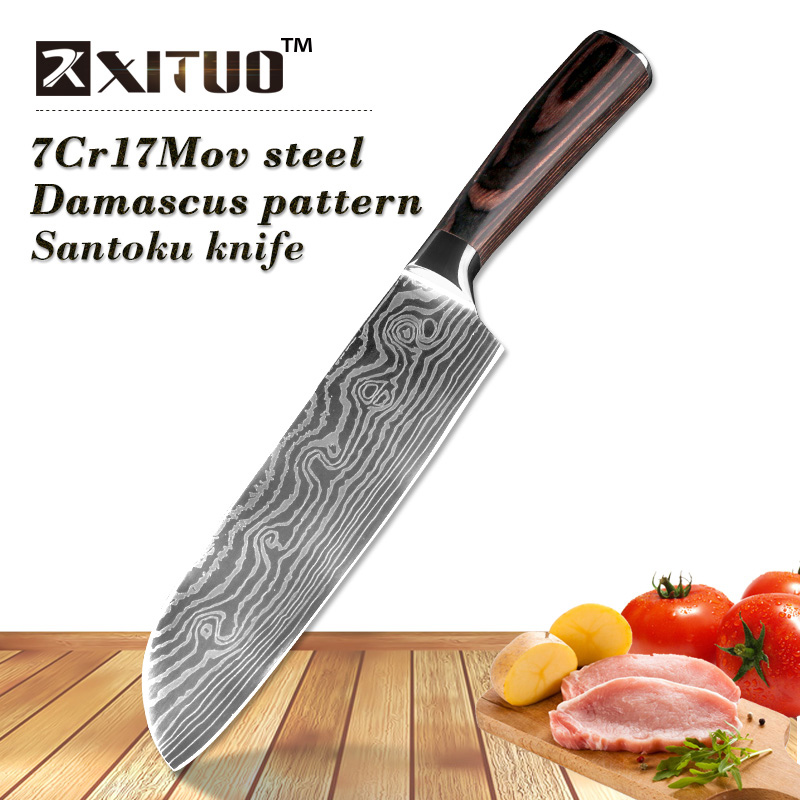 XITUO 7 inch Santoku knife 7Cr17 Steel very sharp Professional chef knife Imitation Japanese Damascus