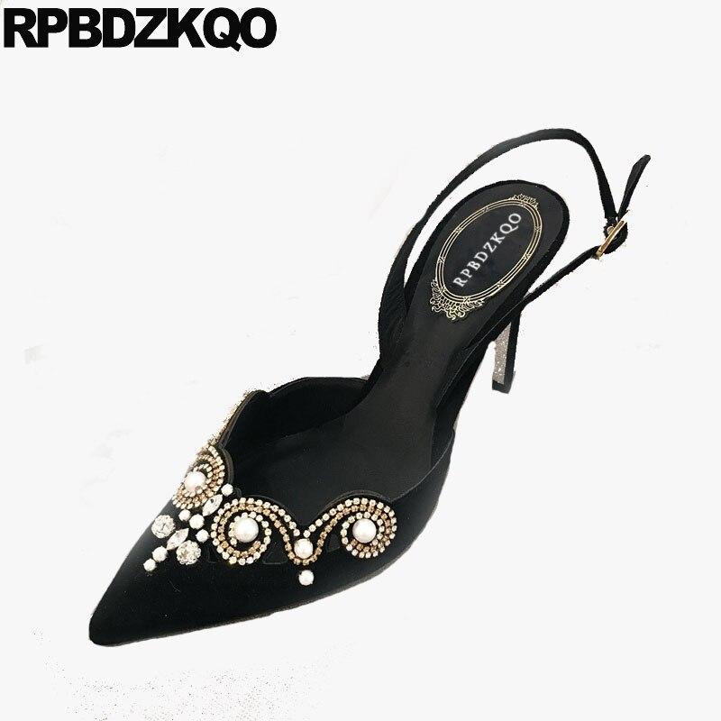 Bout pointu robe noir ultra diamant perle cristal super femmes bride à la cheville chaussures slingback pompes talons hauts stiletto extreme