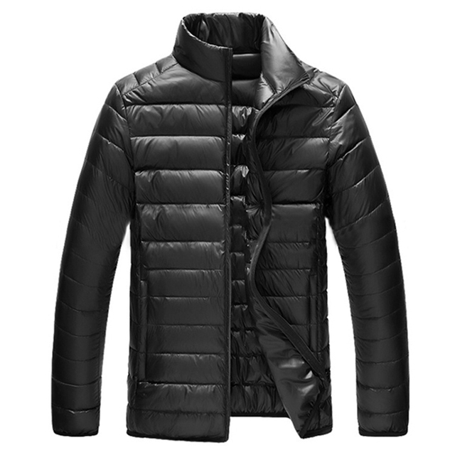 Ultralight Down Jackets 2017 Mens Stand Collar Duck Down Jakcet Light Thin Autumn Wintet Solid Casual Coat Men Outwear Plus Size