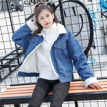 Plush Denim Jeans Coats Autumn Winter Warm Short Jackets Casual Outwear(China)