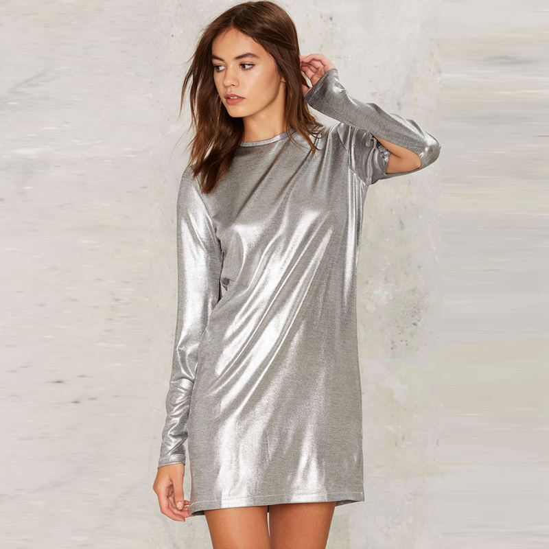 6488bd3c44e4 Silver long sleeve O neck mini tunic metallic dresses for women ladies  autumn spring stylish punk cut out slit short dresses-in Dresses from  Women s ...
