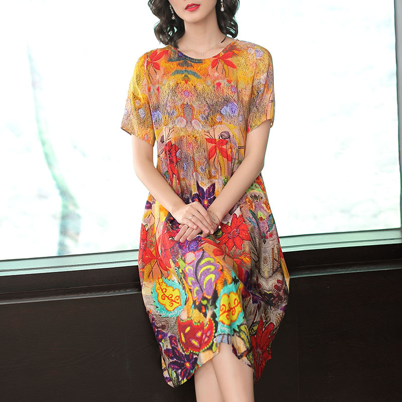 Fashion Brand Floral Print Half Sleeve Dresses Woman Vestidos Mujer Elegant Casual Loose Silk Dress Summer Spring Yellow-in Dresses from Women's Clothing on AliExpress - 11.11_Double 11_Singles' Day 1