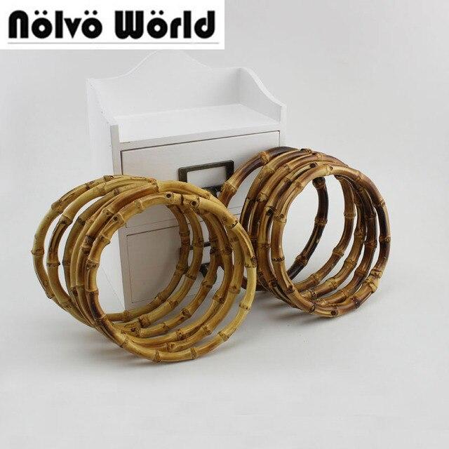 2 пары = 4 шт., 12 см 15 см 18 см круглый бамбука круг кольцо для DIY сумка сумки ручка, натуральной бамбуковой ручкой для ремесла шитья