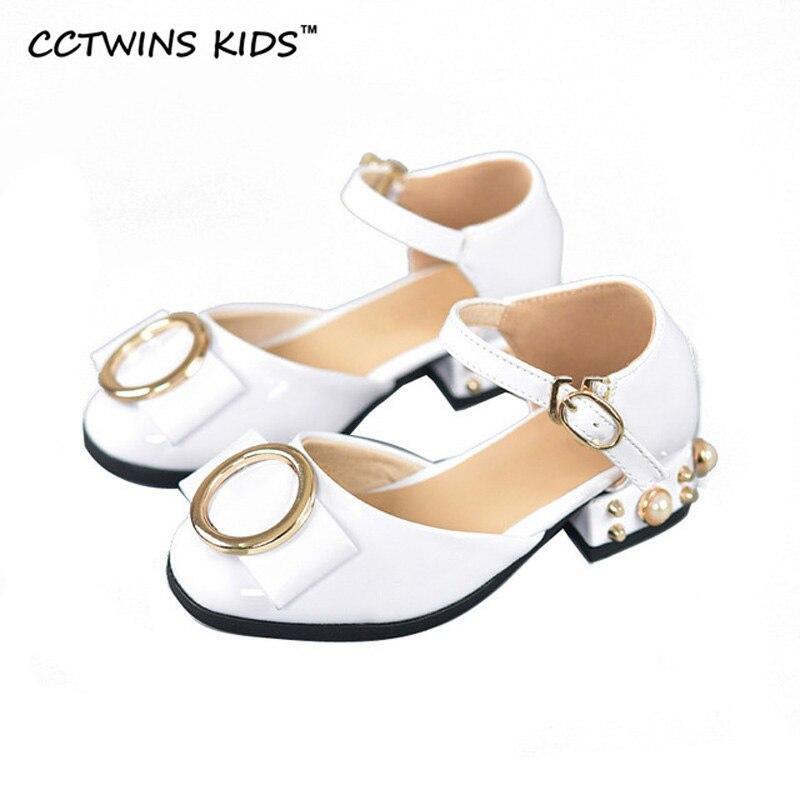 CCTWINS KIDS 2017 Summer Mid Heel Girl Fashion Children Stud Pearl Baby Brand Mary Jane Strap