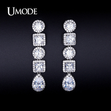 UMODE Newest Arrival Blue / Red / White CZ Simulated Diamond Dangle Earrings For Women Pendientes Bijoux Christmas Gifts AUE0251