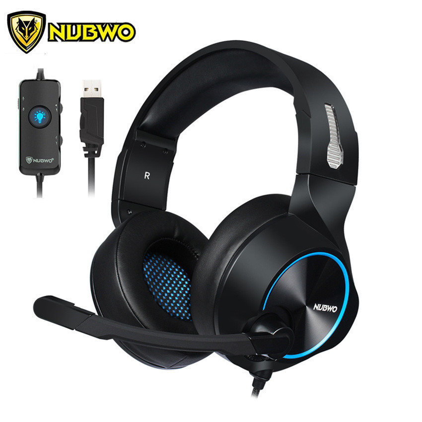NUBWO N11 PC Gamer Gaming Headset Casque 7.1 Channel Sound Wired USB Earphone Headphones with Mic Volume Control LED for Compute