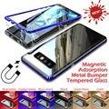 Роскошные магнитные чехлы для телефонов с металлической рамкой для Samsung Galaxy S10 S9 S8 Plus  чехол S10e Note 8 для Samsung Note 9  чехол