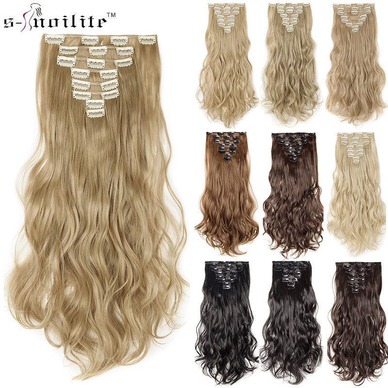 "SNOILITE 17 ""Women Long Curly Synthetic 18 Clip i Hair Extension Clip Extension Hair Real Natural Hair Hairpieces för kvinnor"