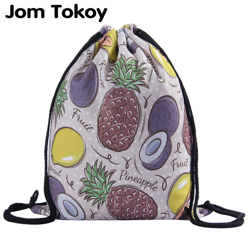 Jom Tokoy New Fashion Girl Drawstring Backpack 3D Printing Fruits Pattern Travel Softback Student Mochila Drawstring Bag