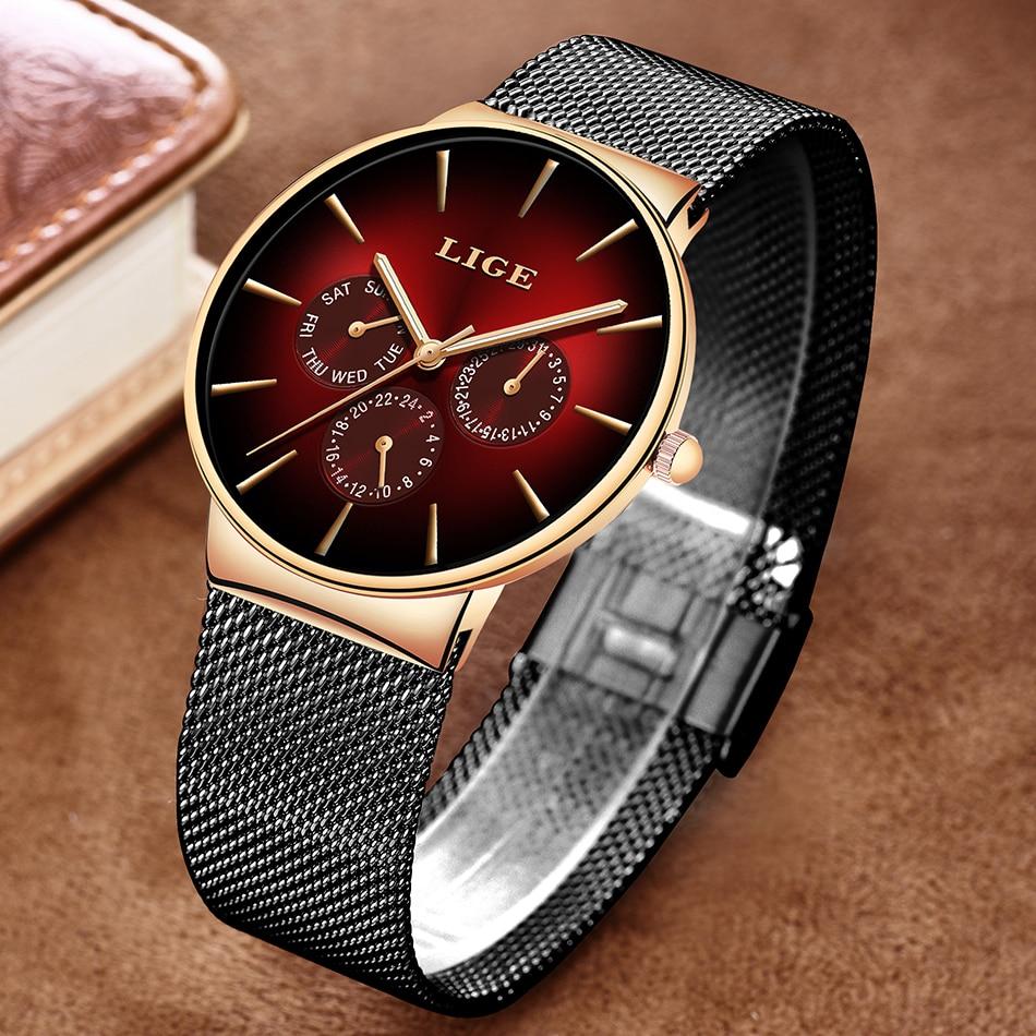 HTB1ju.VSYvpK1RjSZPiq6zmwXXaT 2019 LIGE Casual Thin Mesh Belt Fashion Quartz Gold Watch Mens Watches Top Brand Luxury Sport Waterproof Clock Relogio Masculino