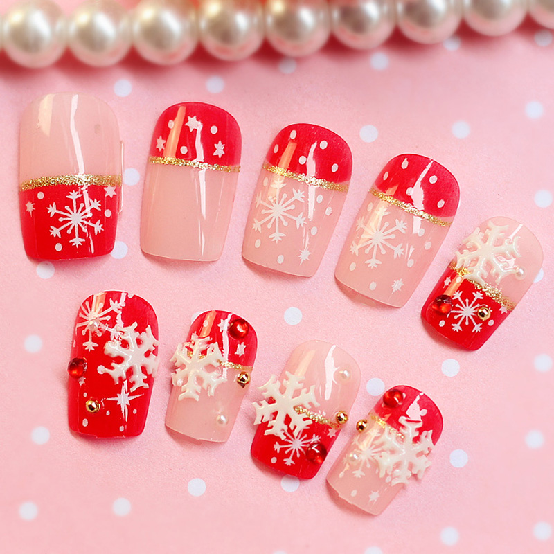 Beauty 24PCS Fake Nails With Christmas Snow Designs 3D Strass Unha ...