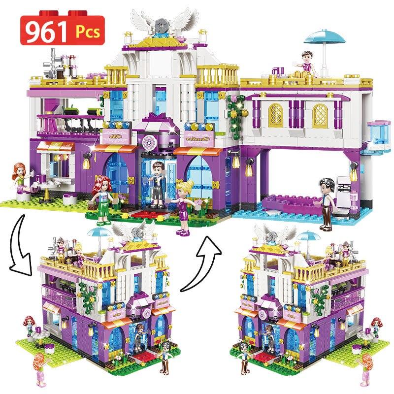 Nouveau 961 pièces privé luxe Villa blocs de construction compatibles avec amour amis château briques filles princesse maison jouets pour les filles