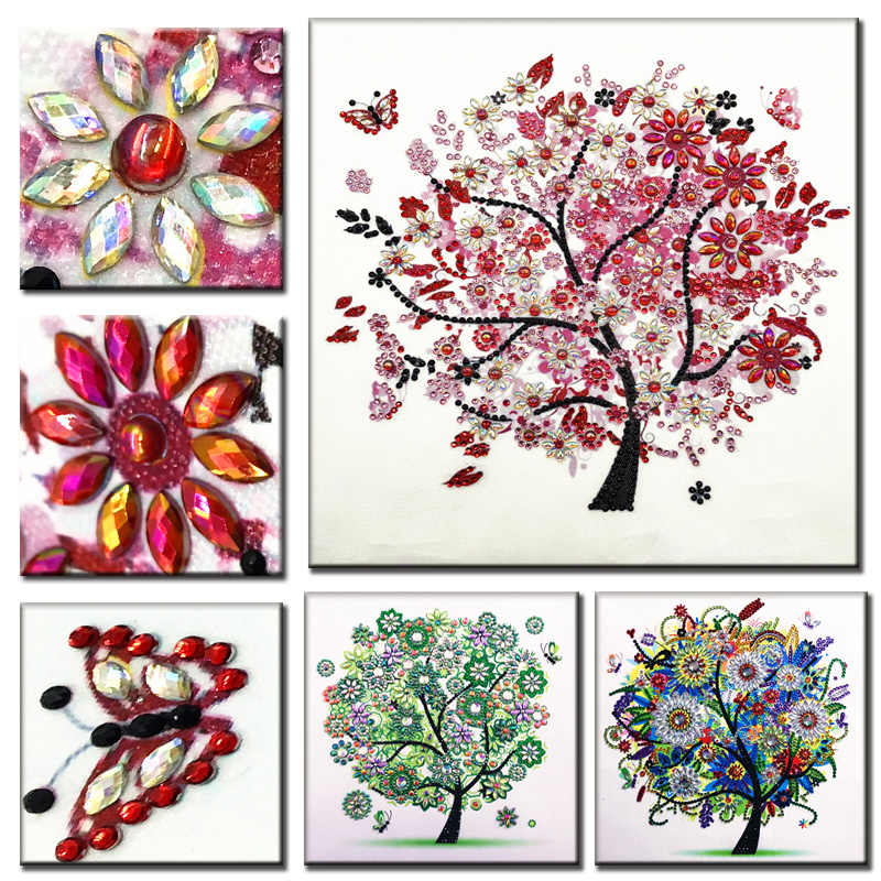 RUBOS DIY 5D Diamond Embroidery Pink Trees Triptych Diamond Painting Multi Picture Bead Pearl Big Crystal Mosaic Sale Home Decor