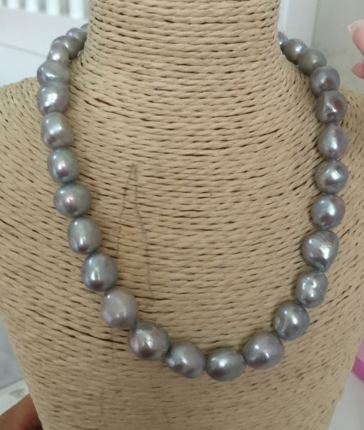 stunning 11-12mm south sea natural grey baroque pearl necklace 18inch 925silverstunning 11-12mm south sea natural grey baroque pearl necklace 18inch 925silver