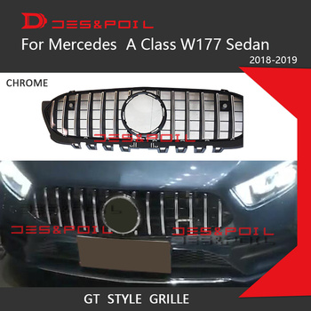 2019 New A Class Amg GT Grill Vertical Grille Style Front Bumper Racing Mesh ABS Car Styling For Mercedes A200 Sports Sedan