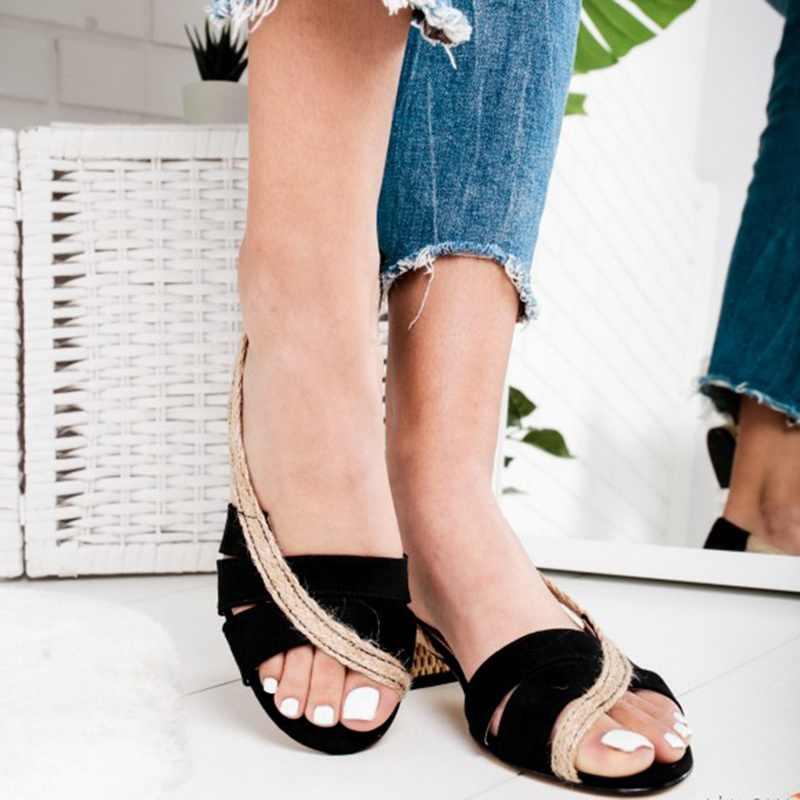Drop Shipping OEAK ฤดูร้อน 2019 ใหม่แฟชั่นสตรีรองเท้าแตะส้นสูงหยาบรองเท้าส้นสูง Anti -skid รองเท้าแตะหรูหรา