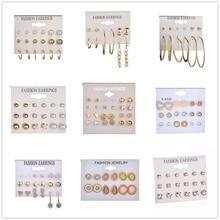 12 Sets 25 Style Heart Flowers Infinite Symbol Stud Earrings Set 2018 New Rhinestone imitation Pearl Earrings for Women Gift цена