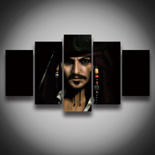 2016 New Paintings Unframed Hd Movie Posters Pirates Face Painting On Canvas 5 Panels Wall Picture Home Decoration Art Pictures