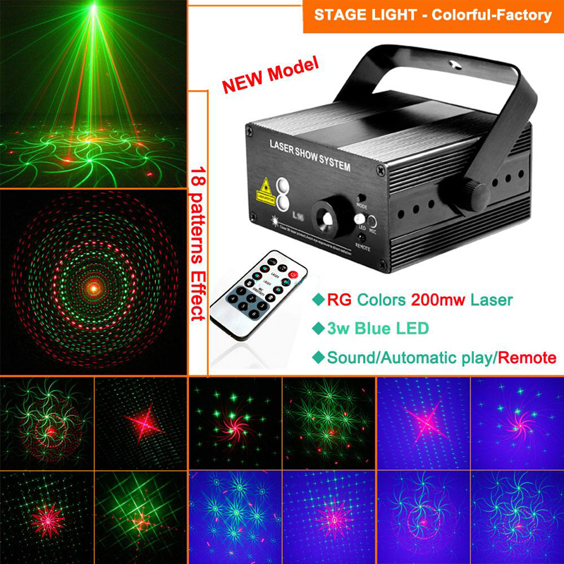 цена на Music Center Disco Party Lights Lumiere Red Green Mixer Laser Blue LED 18 Kinds of Patterns With IR Remote