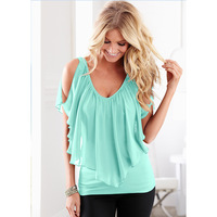 Aliexpress Explosion In Summer 2016 V Collar Sexy Backless Strapless Chiffon Sleeve T Shirt Size Pure