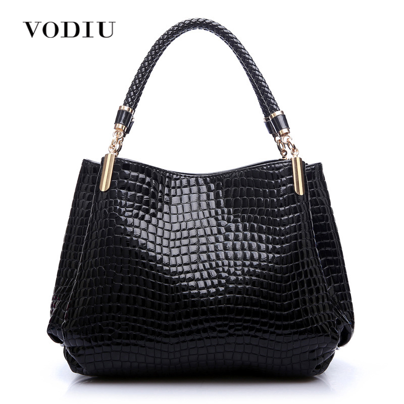 women bag handbags tote over shoulder sling summer patent leather Crocodile black big cool designer brand zipper female bolsas 4 in 1 composite bag female lolita style zipper leather cute bear pendant designer brand handbags for women bolsas de couro 49